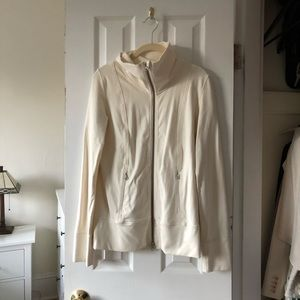 Lululemon Cowlneck Zip Up Jacket in Cream